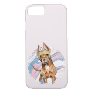 """""""Bunny Ears"""" Pit Bull Dog Watercolor Painting iPhone 8/7 Case"""