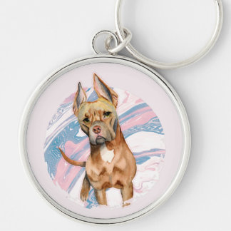"""""""Bunny Ears"""" Pit Bull Dog Watercolor Painting Keychain"""