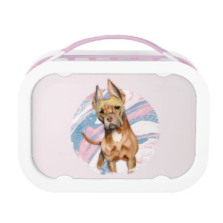 """""""Bunny Ears"""" Pit Bull Dog Watercolor Painting Lunch Box"""