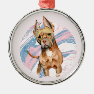 """Bunny Ears"" Pit Bull Dog Watercolor Painting Metal Ornament"