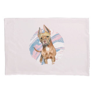 """Bunny Ears"" Pit Bull Dog Watercolor Painting Pillowcase"