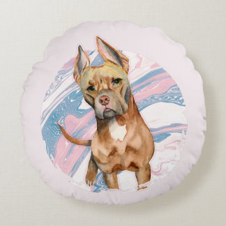 """""""Bunny Ears"""" Pit Bull Dog Watercolor Painting Round Pillow"""