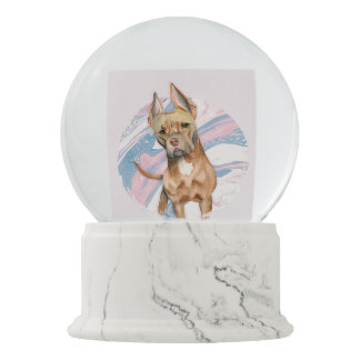 """""""Bunny Ears"""" Pit Bull Dog Watercolor Painting Snow Globe"""