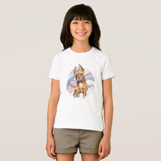 """""""Bunny Ears"""" Pit Bull Dog Watercolor Painting T-Shirt"""