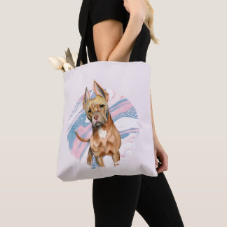 """""""Bunny Ears"""" Pit Bull Dog Watercolor Painting Tote Bag"""
