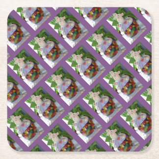 Bunny Easter Candy Jar Square Paper Coaster