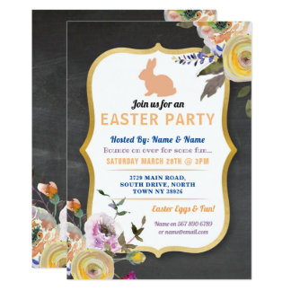 Bunny Easter Party Egg Hunt Invitation Flowers