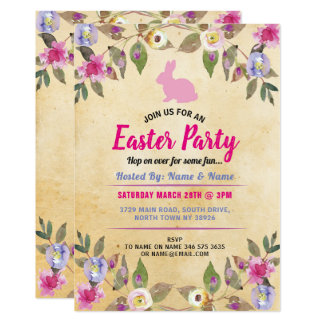 Bunny Easter Party Flower Vintage Pink Invite
