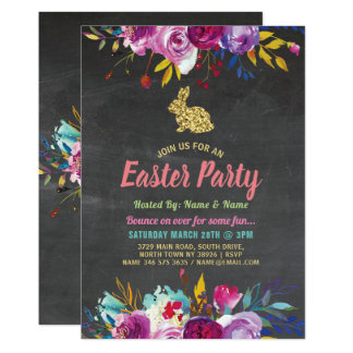 Bunny Easter Party Glitter Floral Chalk Invite