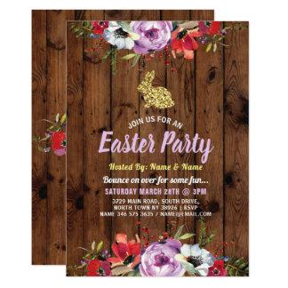 Bunny Easter Party Glitter Flower Wood Invite