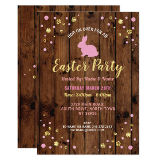 Bunny Easter Party Glitter Wood Pink Invite