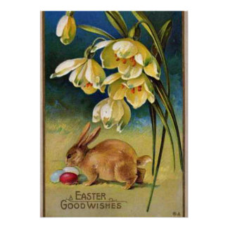 Bunny, Eggs, and Snowdrops, vintage 1910 Poster