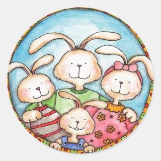 bunny family round sticker