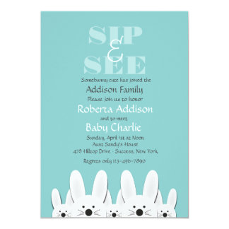 Bunny Family Sip and See Invitation