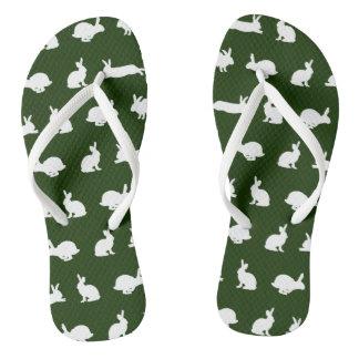 Bunny Frenzy Flip Flops (Dark Green)