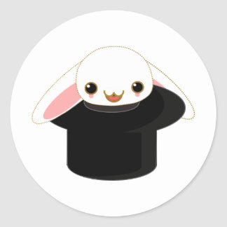 bunny from the hat round sticker