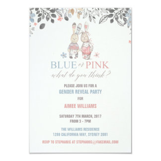 Bunny Gender Reveal Baby Shower Invitation