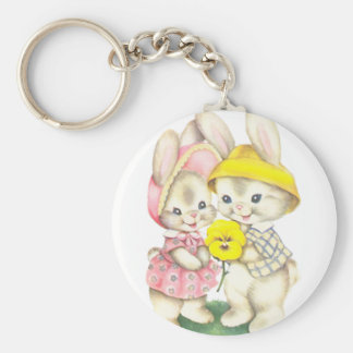 Bunny Girl+Boy Basic Round Button Keychain