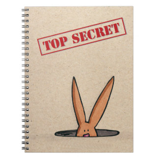 Bunny hare rabbit Top Secret Spiral Notebook