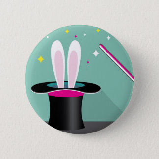 Bunny in a hat magic 2 inch round button