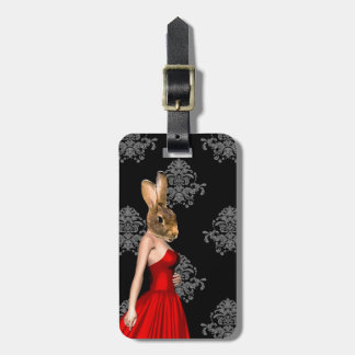 Bunny in red dress luggage tag