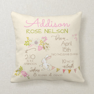 """Bunny in Spring"" Floral Birth Stats Girl Throw Pillow"