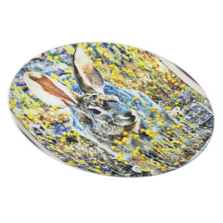 Bunny in Spring Flowers Melamine Plate