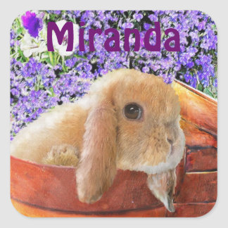 bunny in the flowerpots personalizable sticker
