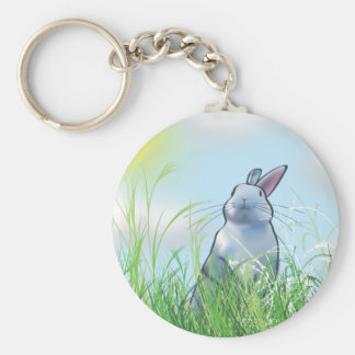 Bunny in the Grass Basic Round Button Keychain
