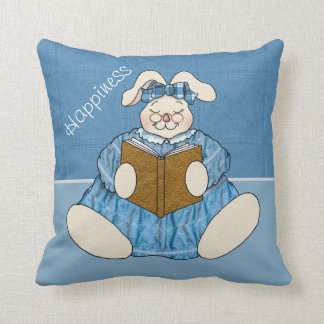 Bunny Is Happy Reading a Good Book Throw Pillow