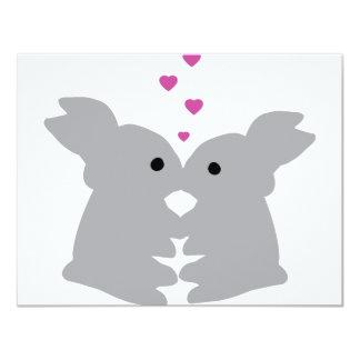 "bunny kiss icon 4.25"" x 5.5"" invitation card"