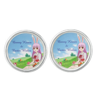 Bunny Kisses & Easter Wishes (Customizable) Cufflinks
