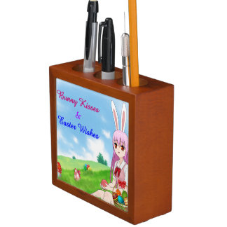 Bunny Kisses & Easter Wishes (Customizable) Desk Organizer