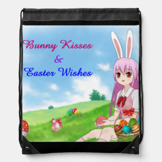 Bunny Kisses & Easter Wishes (Customizable) Drawstring Bag