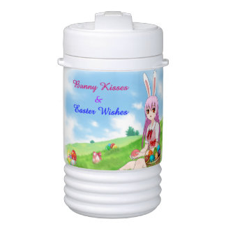 Bunny Kisses & Easter Wishes (Customizable) Drinks Cooler