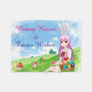 Bunny Kisses & Easter Wishes (Customizable) Fleece Blanket