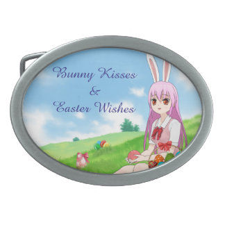 Bunny Kisses & Easter Wishes (Customizable) Oval Belt Buckle