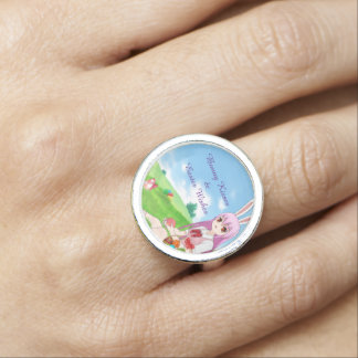 Bunny Kisses & Easter Wishes (Customizable) Photo Ring