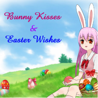Bunny Kisses & Easter Wishes (Customizable) Photo Sculpture Button