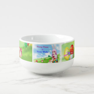 Bunny Kisses & Easter Wishes (Customizable) Soup Bowl With Handle