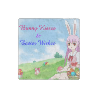 Bunny Kisses & Easter Wishes (Customizable) Stone Magnets