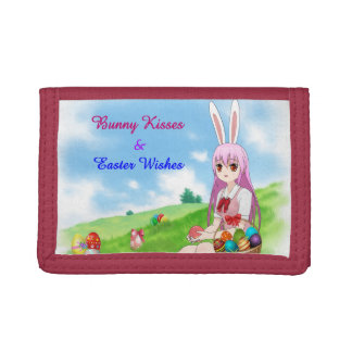 Bunny Kisses & Easter Wishes (Customizable) Tri-fold Wallet