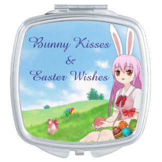 Bunny Kisses & Easter Wishes (Customizable) Vanity Mirrors