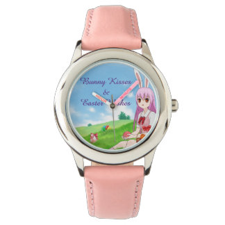 Bunny Kisses & Easter Wishes (Customizable) Wrist Watch