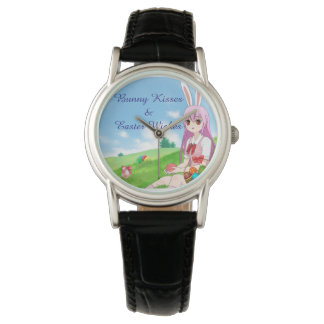 Bunny Kisses & Easter Wishes (Customizable) Wristwatch