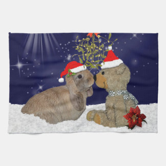 Bunny Love at Christmas Kitchen Towel