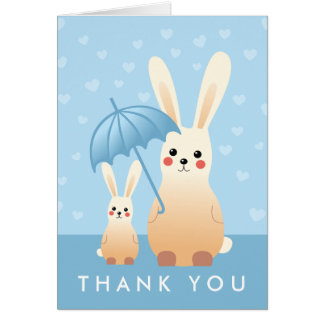 Bunny Mommy With Baby Thank You Note Card