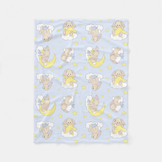 Bunny Moon Star  Cloud Woodland Animal Boy Nursery Fleece Blanket