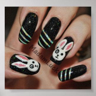 bunny nail art poster