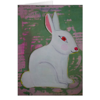 Bunny on pink and green note card